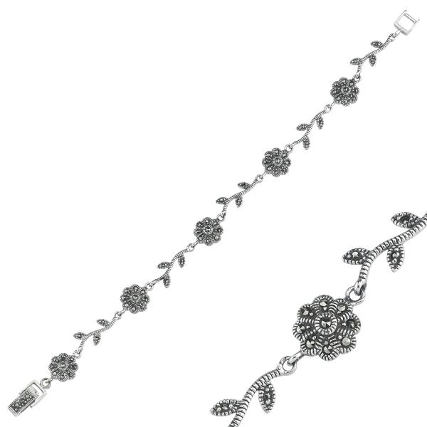 Bratara argint 925 cu floricele si marcasite si aspect vintage - Be Nature BTU0072 1