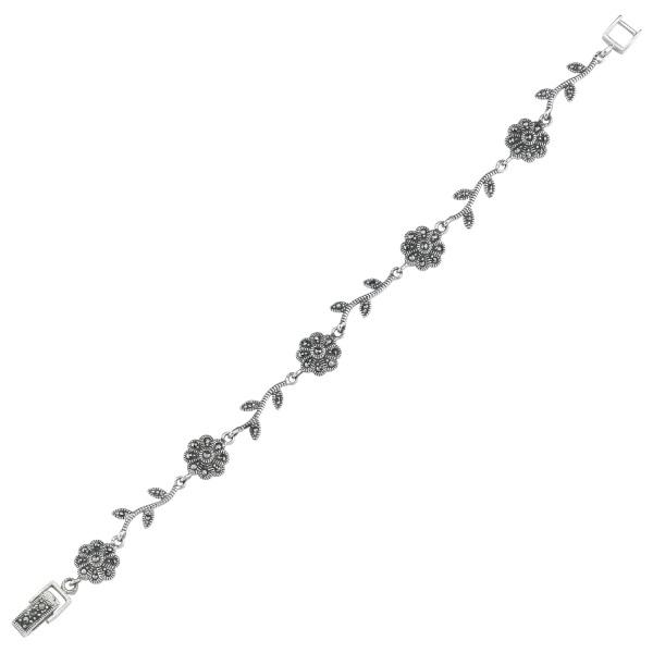 Bratara argint 925 cu floricele si marcasite si aspect vintage - Be Nature BTU0072 0