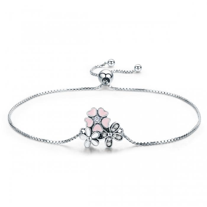 Bratara argint 925 cu floricele si zirconii albe - Be Nature  BST0029 0