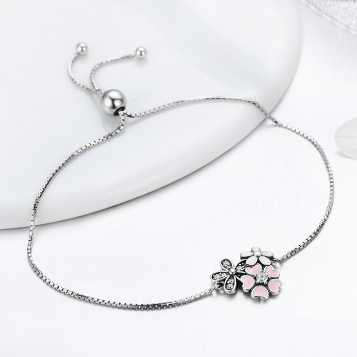 Bratara argint 925 cu floricele si zirconii albe - Be Nature  BST0029 1
