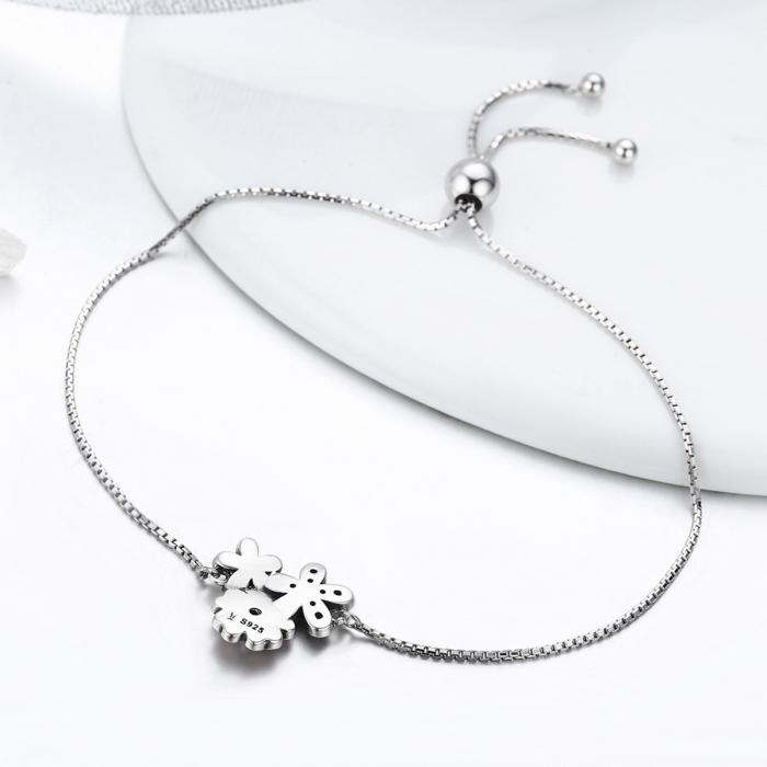 Bratara argint 925 cu floricele si zirconii albe - Be Nature  BST0029 4