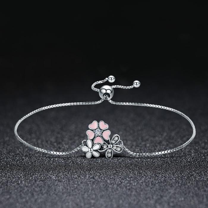 Bratara argint 925 cu floricele si zirconii albe - Be Nature  BST0029 2