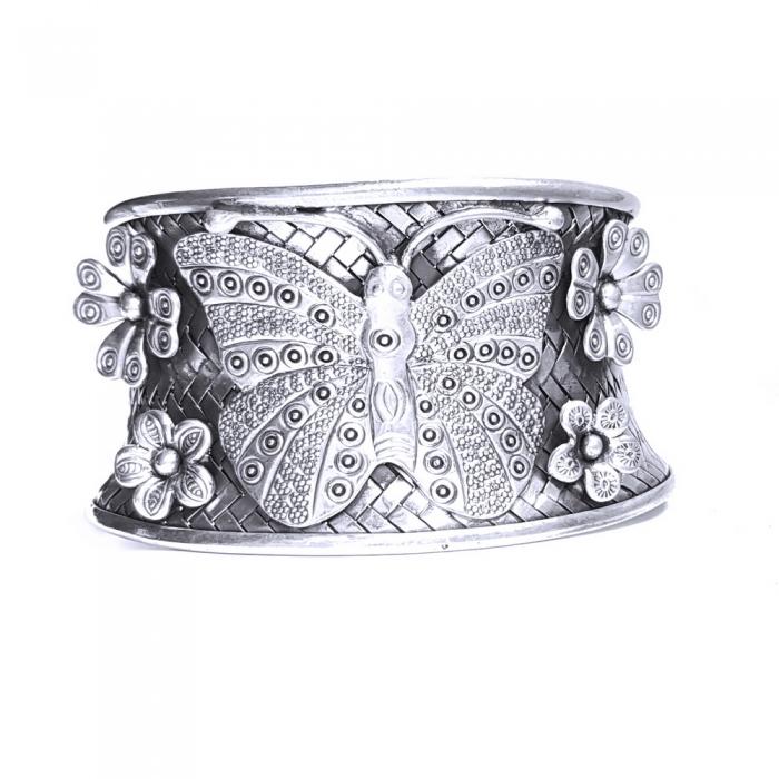 Bratara argint 925 cu fluture si floricele, Eden 0