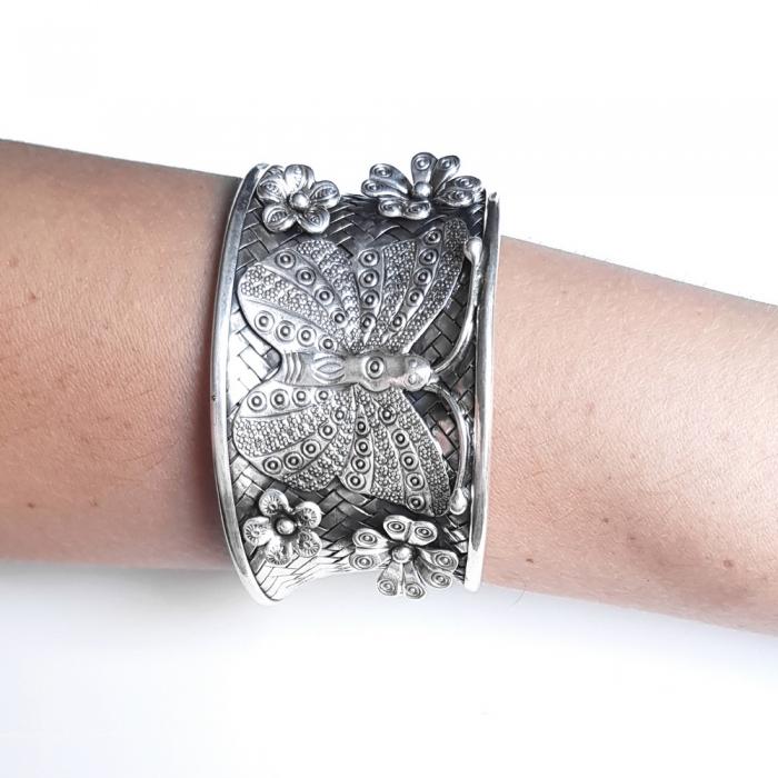 Bratara argint 925 cu fluture si floricele, Eden 3