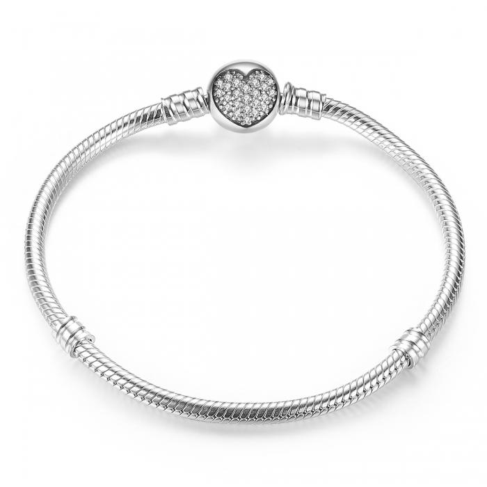 Bratara argint 925 cu inimioara si zirconii albe - Be Elegant BST0018 0