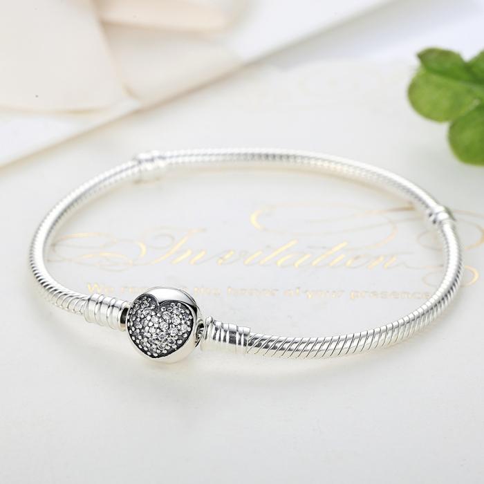 Bratara argint 925 cu inimioara si zirconii albe - Be Elegant BST0018 1