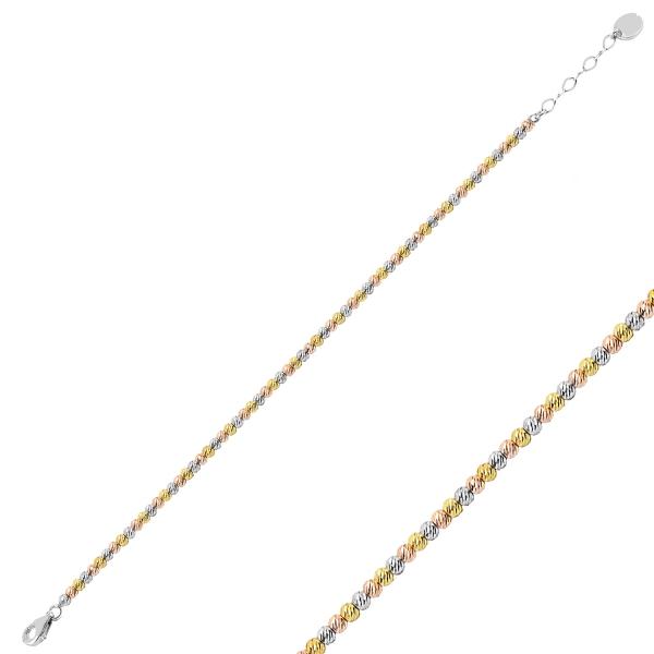 Bratara argint 925 cu margele taiate in forma de diamant, placata cu rodiu [0]