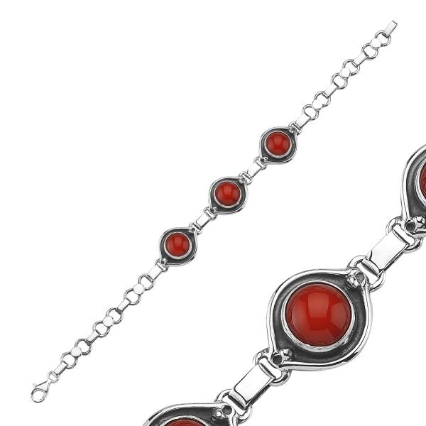Bratara argint 925 cu pietre de coral rosu - Be Elegant BTU0074 [1]