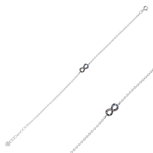 Bratara argint 925 cu simbolul infinit si zirconii multicolore - Infinite You BTU0102 0