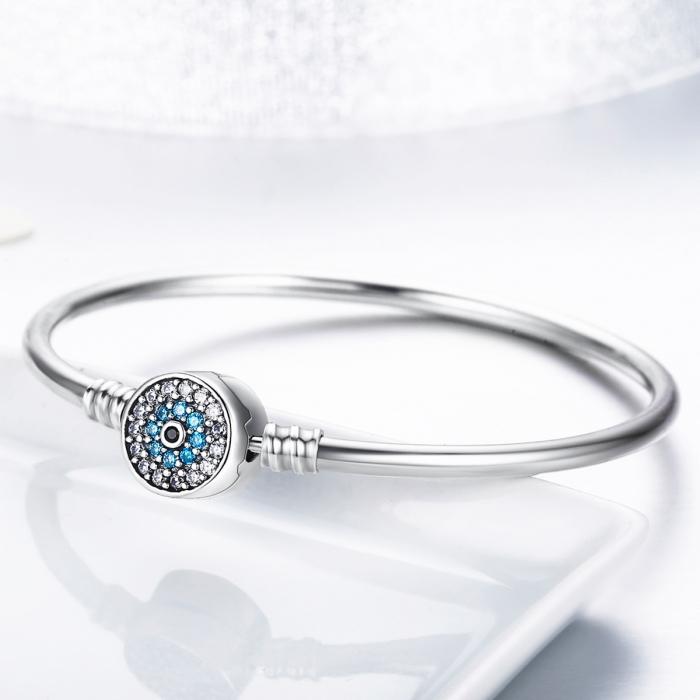 Bratara argint 925 floare albastra cu zirconii - Be Nature BST0024 3