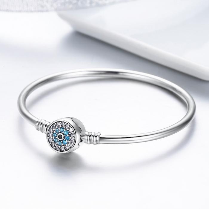 Bratara argint 925 floare albastra cu zirconii - Be Nature BST0024 5