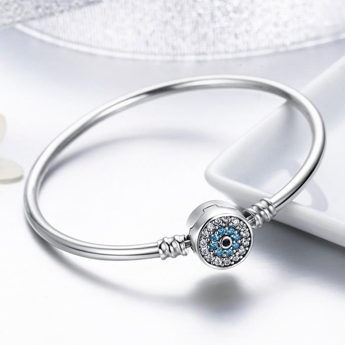 Bratara argint 925 floare albastra cu zirconii - Be Nature BST0025 1