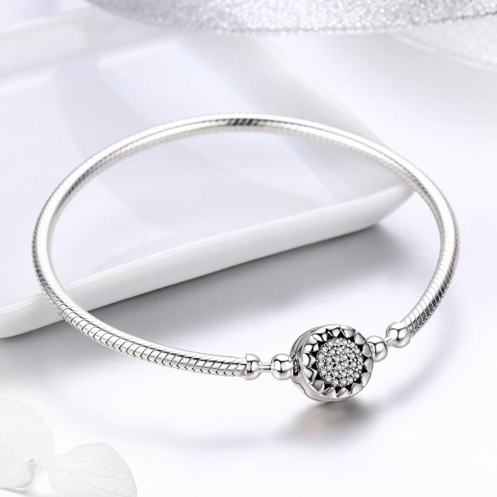 Bratara argint 925 floare cu zirconii albe - Be Nature BST0032 1