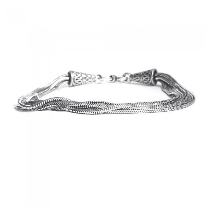 Bratara argint 925 manunchi de lantisoare cu conuri  , Leila 2