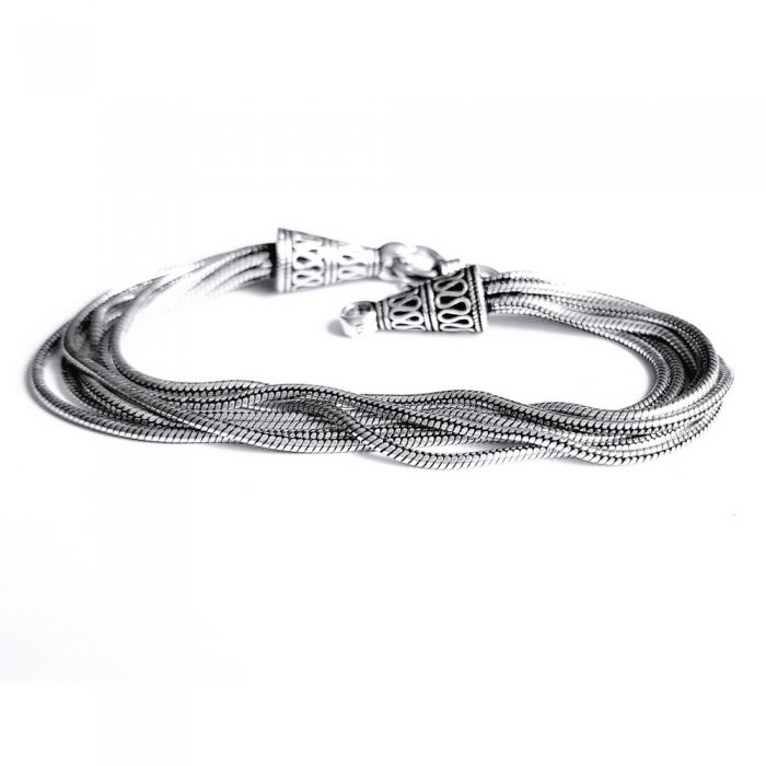 Bratara argint 925 manunchi de lantisoare cu conuri  , Leila 4