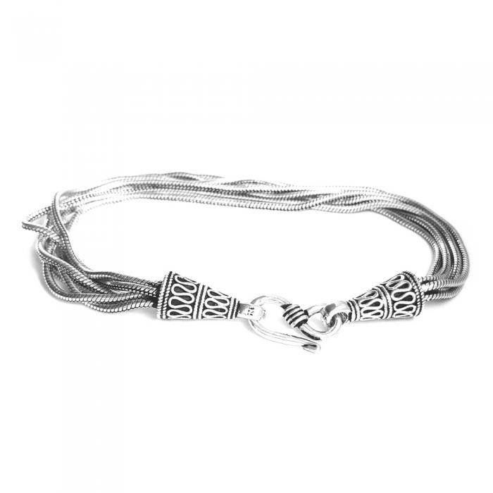 Bratara argint 925 manunchi de lantisoare cu conuri  , Leila 1