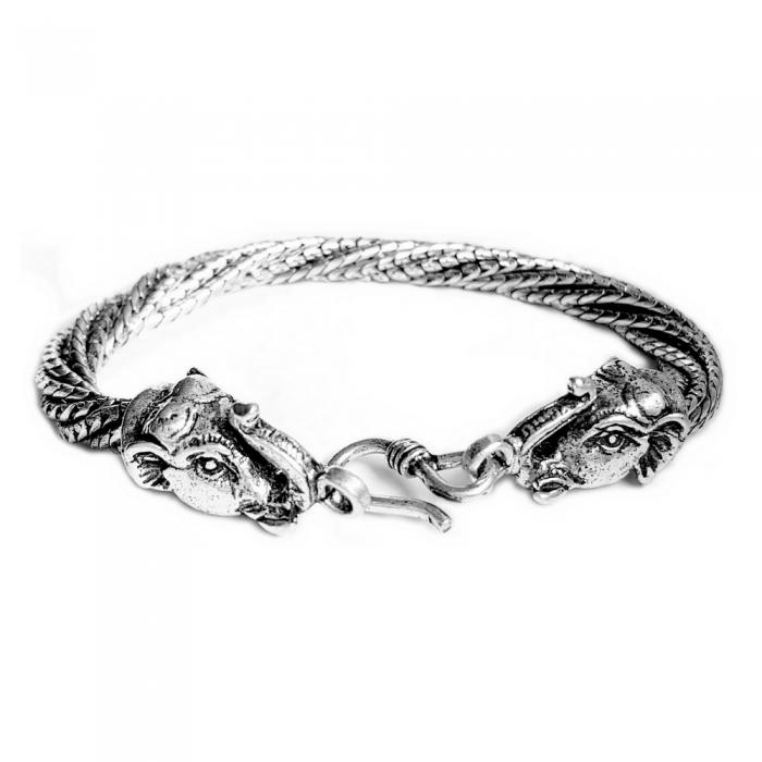 Bratara argint 925 manunchi de lantisoare cu elefanti  , Ganesha 1