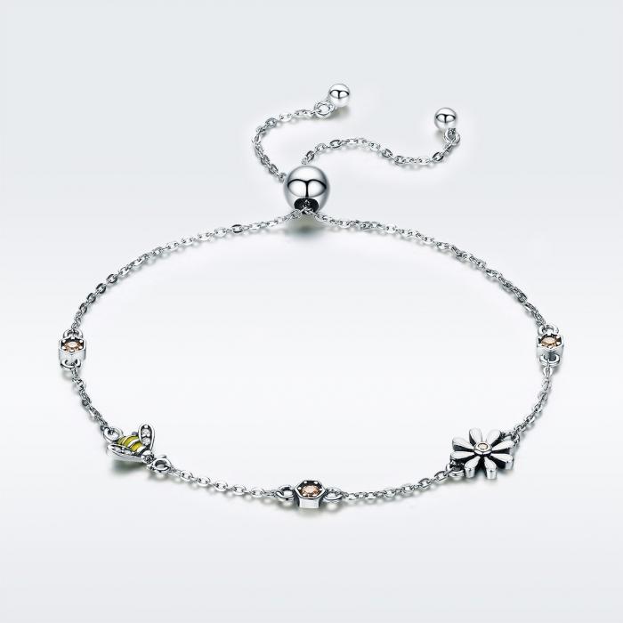 Bratara argint 925 reglabila cu floare alba, albinuta si zirconii colorate - Be Nature BST0035 2