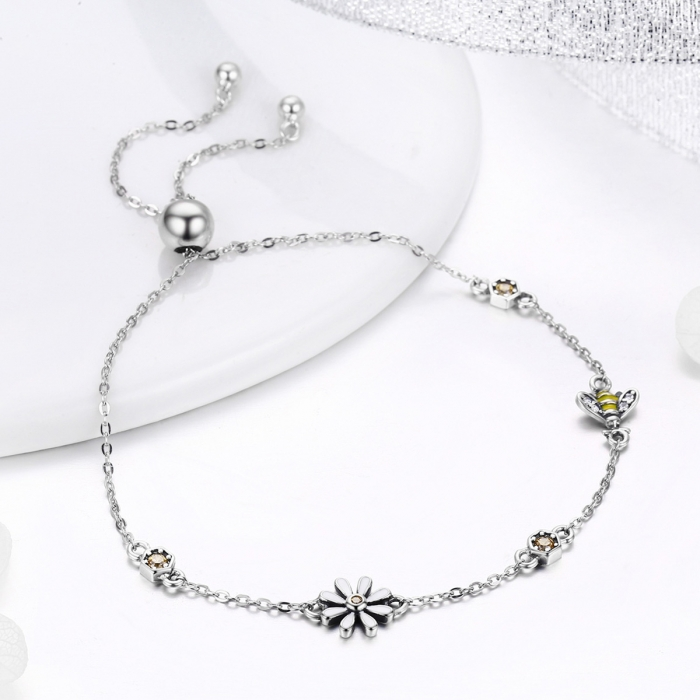 Bratara argint 925 reglabila cu floare alba, albinuta si zirconii colorate - Be Nature BST0035 1