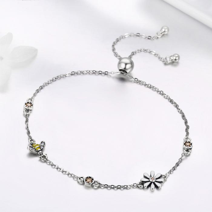 Bratara argint 925 reglabila cu floare alba, albinuta si zirconii colorate - Be Nature BST0035 3
