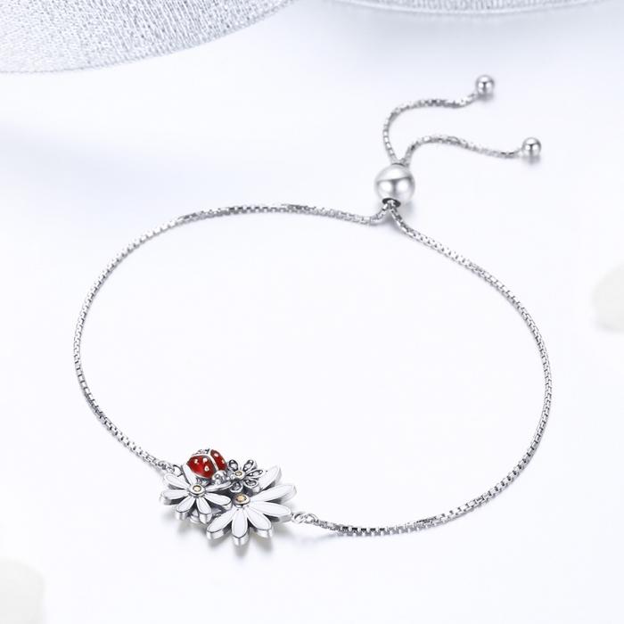 Bratara argint 925 reglabila cu gargarita, floricele si zirconii - Be Lucky BST0039 1