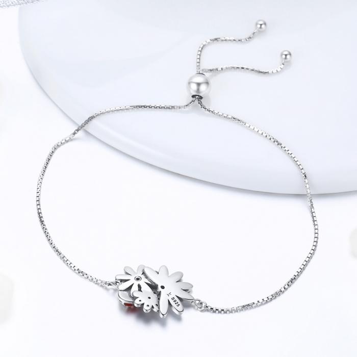 Bratara argint 925 reglabila cu gargarita, floricele si zirconii - Be Lucky BST0039 2