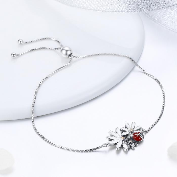 Bratara argint 925 reglabila cu gargarita, floricele si zirconii - Be Lucky BST0039 3
