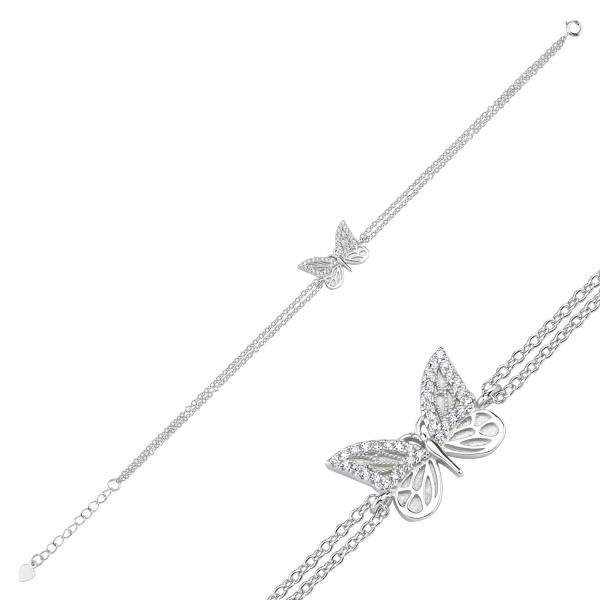 Bratara argint 925 rodiat cu fluturas si zirconii albe - Be Nature BTU0085 1