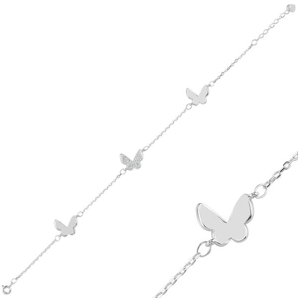 Bratara argint 925 rodiat cu fluturas si zirconii albe - Be Nature BTU0088 0