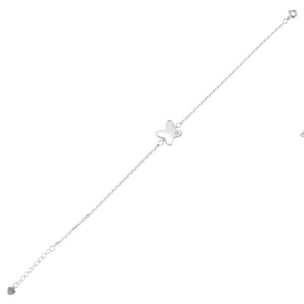 Bratara argint 925 rodiat cu fluturas si zirconii albe - Be Nature BTU0090 0