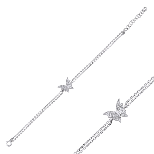 Bratara argint 925 rodiat cu fluturas si zirconii albe - Be Nature BTU0091 1