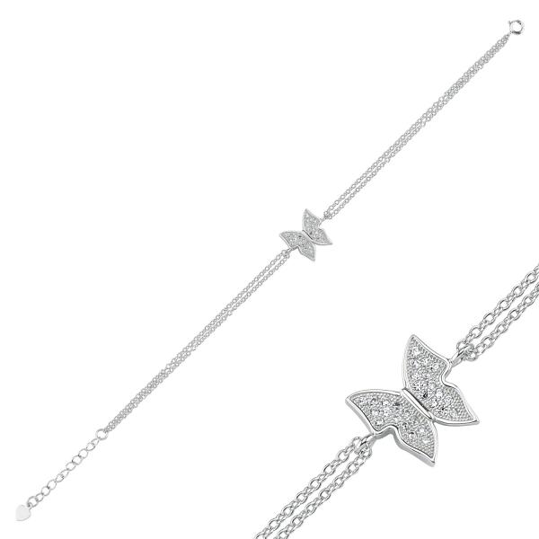 Bratara argint 925 rodiat cu fluturas si zirconii albe - Be Nature BTU0095 1