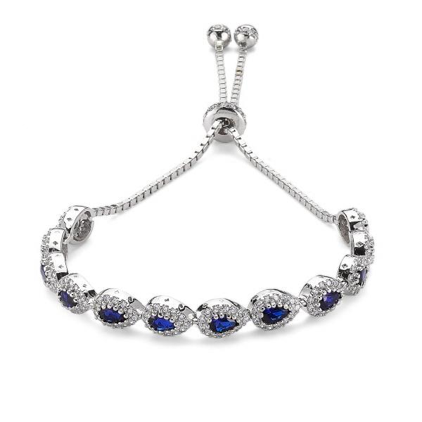 Bratara argint 925 rodiat cu zirconii albe si albastre - Be Elegant BSTU0031 0