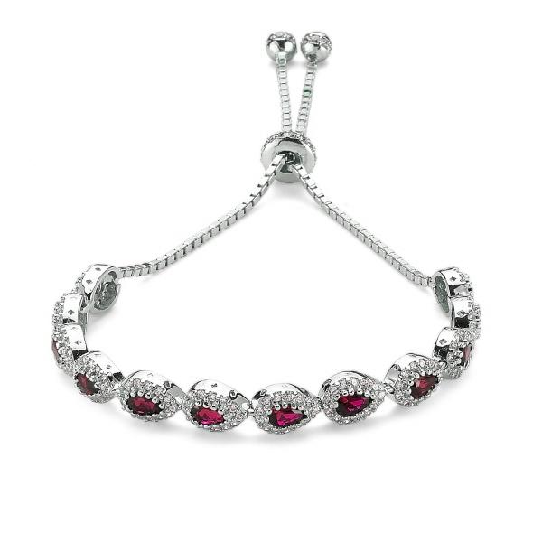 Bratara argint 925 rodiat cu zirconii albe si rosii - Be Elegant BSTU0032 0