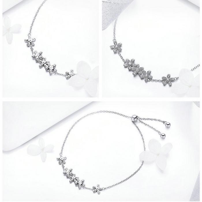 Bratara argint cu flori si cristale 4