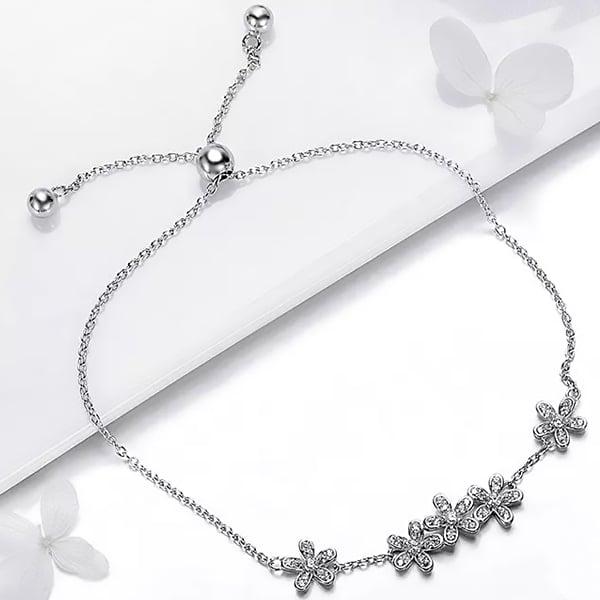 Bratara argint cu flori si cristale 3