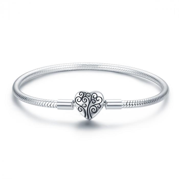 Bratara argint pentru talismane, cu inima [0]