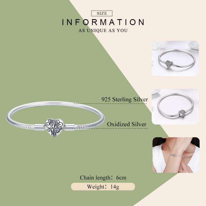 Bratara argint pentru talismane, cu inima [3]
