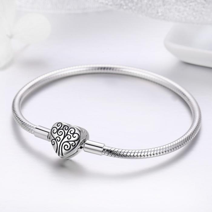 Bratara argint pentru talismane, cu inima [2]