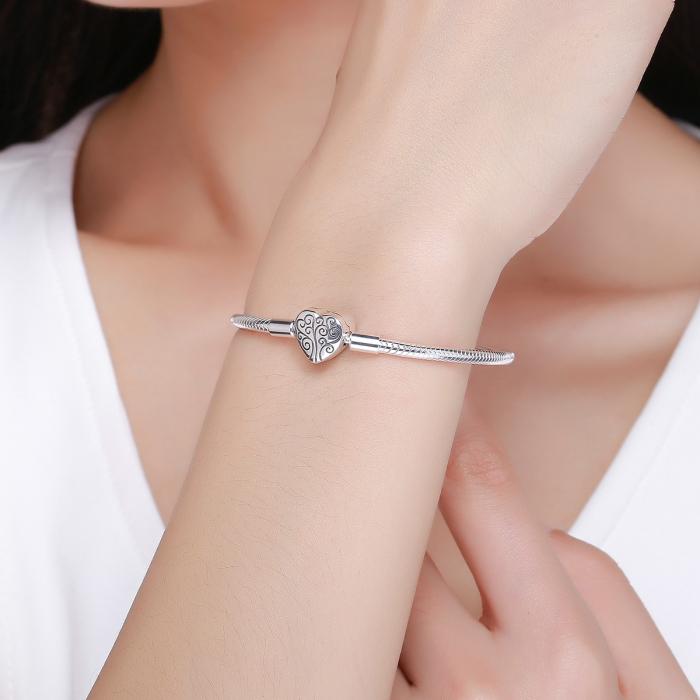 Bratara argint pentru talismane, cu inima [6]