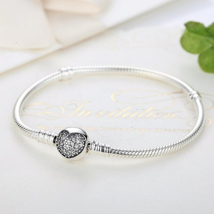 Bratara argint pentru talismane cu inimioara din cristale  [3]