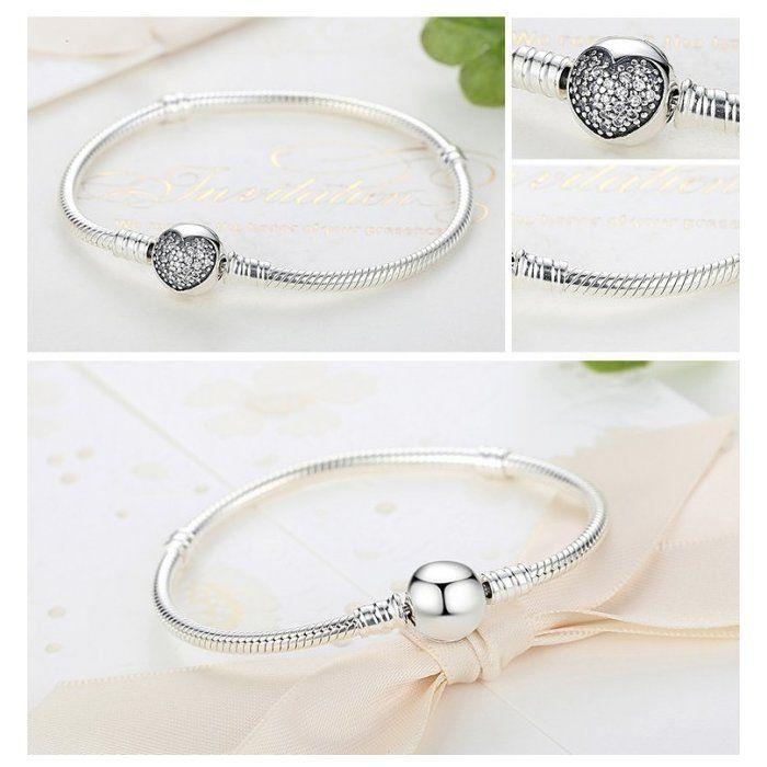Bratara argint pentru talismane cu inimioara din cristale  [1]