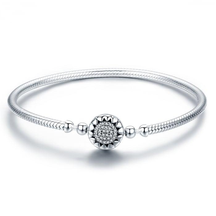 Bratara argint pentru talismane, cu zirconii [0]