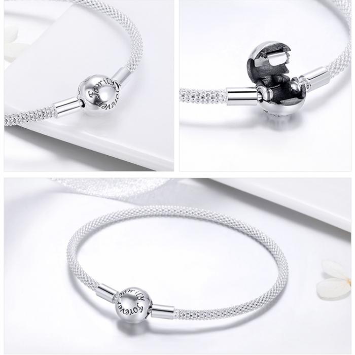 Bratara argint pentru talismane, gravata cu Forever Love 1