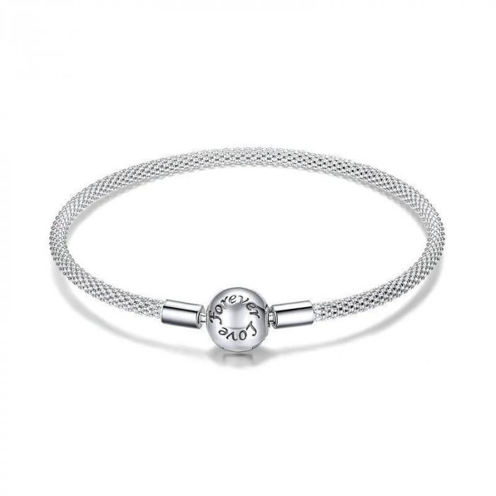 Bratara argint pentru talismane, gravata cu Forever Love 0