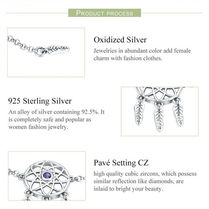 Bratara argint reglabila cu Dream Catcher 4