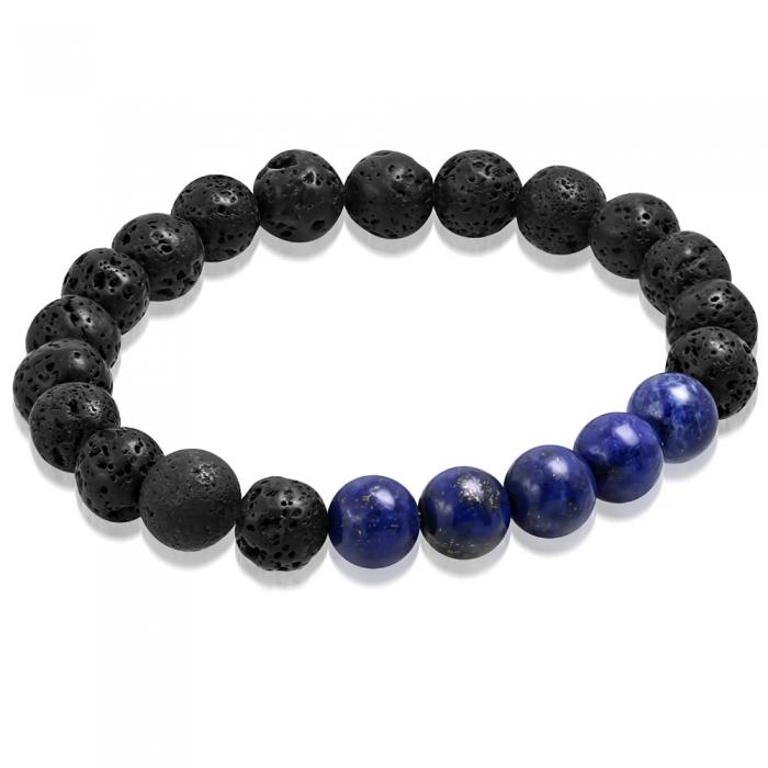 Bratara cu margele negre de lava si Lapis Lazuli - Meditation Bracelet BSL3330 0