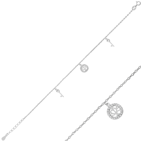 Bratara din argint placata cu rodiu, cu talisman copacul vietii si cheite [0]
