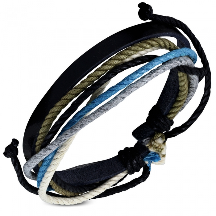 Bratara din piele neagra si snur albastru - BSL2934 0