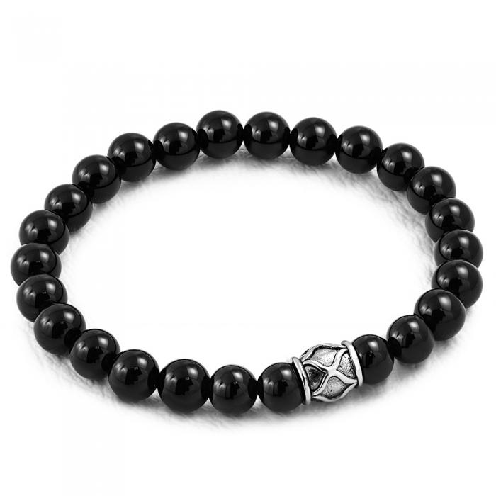 Bratara elastica cu agate negre si charm din inox 1